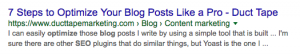 Meta Description example for SEO optimizing blogs