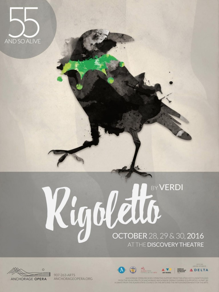 poster for anchorage opera's Rigoletto designed by beacon media + marketing
